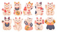 Japanese Lucky Cats. Cartoon Maneki Neko Toy In Traditional Clothes, Holding Fish, Bells And Gold Coin. Asian Waving Fortune Cat Vector Set