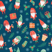 Gnomes Seamless Pattern. Funny Christmas Dwarfs And Gifts, Winter Festive Print Children Textile, Wrapping Paper, Wallpaper Vector Texture
