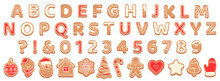 Gingerbread Alphabet. Christmas Cookies And Biscuit Letters For Xmas Holiday Message. Pastry Gingerbread English Childish Font Vector Set