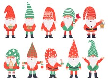 Christmas Dwarfs. Funny Fabulous Gnomes In Red Costumes, Xmas Gnome With Lantern Traditional Decoration, Winter Holiday Vector Characters