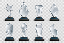 Glass Awards. Realistic Transparent Winner Trophy, Acrylic Stars Cups And Competition Prizes. Vector Isolated Fogged Crystal Award