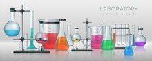 Realistic Laboratory. Chemistry Lab Equipment, 3D Flask Tubes Beaker And Other Measuring Glassware. Vector Chemical Or Medicine Experiment