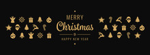 Golden Christmas Greetings Icon Ornament Elements Black Background