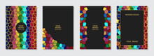 Set Of Cover Design, Vertical Vector Templates. Geometric Original Multicolored Mosaic Pattern, Frame For Text. Vector Graphics For Presentations, Business Pages, Brochures, Invitations, Menus.