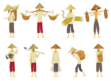 Collection Of Asian Farmers In Straw Conical Hata. Asia Rural Culture. Chinese Farmers Carrying Yields Rice Harvest On His Shoulders And In Hands. Vector Cartoon Illustration