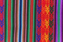 Peruvian Crafts: Handmade Fabric, With Bands Of Colors Typical Of The Andean Culture, Which Is Repeated In Several Countries Such As Ecuador, Peru And Bolivia
