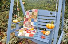 Autumn Harvest Decor On Patio Setting For Seasonal Hot Chocolate Or Tea Outdoors Farmers Market Or Apple Picking Farm