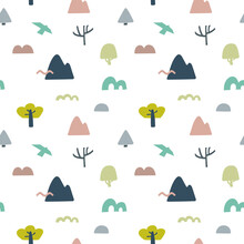 Seamless Pattern With Trees, Mountains, Birds And Abstract Shapes On A White Background. Illustration For Wrapping Paper, Postcards, Prints For Clothes, Emblems, Posters,advertising And Packaging.