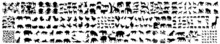 Jungle Animal Silhouette,  Vector Flat Black Set Collection Of African Animals Silhouette, Collection Of Different Animals On A White Background, An African Safari Animal Silhouette Landscape Scene