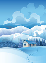Winter Mountains Snowy Landscape With Pines Forest And Hills On Background.  Drawing Of Snow-covered Field On Which Stands The House And Traces Of Walking To It. Horizontal Nature Scene