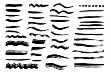Grunge Dry Paint Brush Strokes, Vector, Isolated.  Hand Drawn Collection