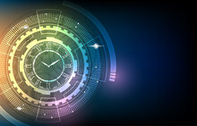 Vector Abstract Technology Analog Clock Display Concept