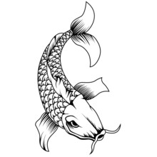 Koi Fish Japan Tattoo Style In Black And White. Vector Illustration
