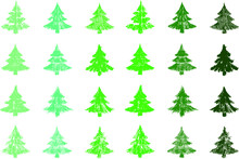 24 Christmas Trees In The Green Palette With Different Shapes, Strokes And Textures, Vector For Background, Templates And Graphic Resources. Hand Drawn Vector.