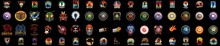 A Huge Colorful Collection Of Emblems, Huge Set Of Colorful Sports Logos. Logos, Badges Of Knights, Horsemen, Soldiers. Swordsman With A Sword,
