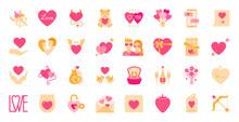 Valentines Day Flat Cartoon Icon Set, Romantic Sign For Valentine Card Design, Simple Love Symbol