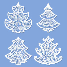 Laser Cutting Template. Set Of Christmas Trees. Vector