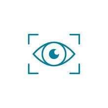 Eye Scan Line Icon. Biometrics Concept. Retina ID. Security Authorization. Unlock Or Access Personal Device. Identity Confirmation. Digital Surveillance And Control Idea. Vector Illustration, Clip Art