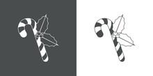 Logotipo Candy Cane De Navidad. Icono Plano Silueta De Baston De Caramelo Con Ramita De Acebo En Fondo Gris Y Fondo Blanco