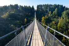 Suspension Wooden Bridge With Steel Ropes Over A Dense Forest In West Germany.
