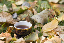 Cup Of Tea On A Yellowed Leaf