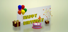 Birthday Cake With Candles 3 D