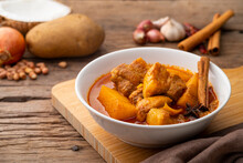 Massaman Curry With Pork Meat In White Bowl