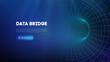 Data bridge vector illustration. Traffic big data and data visualization. Communication network digital technology background.