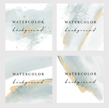 Set Of Vector Abstract Background With Copy Space For Text. Design For Social Media, Insta Story, Card, Invitation, Feed Post With Watercolor And Glitter. Instagram Square Flyer Banner
