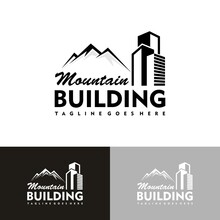 Montana Real Estate Vector Logo Template. Logos For Mountain Resorts Or Real Estate Agents Specializing In Cottage Settlements. Realty Construction Architectural Symbol.