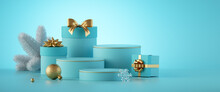 3d Render. Christmas Banner With Empty Podium, Gift Boxes And Ornaments, Isolated On Mint Blue Background. Modern Minimal Showcase For Product Presentation