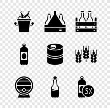 Set Beer Bottles In Ice Bucket, Pack Of Beer, Wooden Barrel On Rack, Plastic, And Metal Keg Icon. Vector
