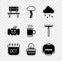 Set Bench, Mushroom, Cloud With Rain, October Calendar Autumn, Basket And Food, Sweater, Pumpkin And Cup Of Tea Icon. Vector