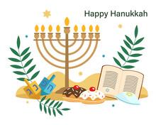 Hanukkah Greeting Card. Jewish Holiday. Menorah, Star Of David, Torah, Donuts. Vector Illustration In Flat Style.