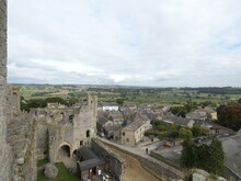 View From Middleham Castle Over Castle Walls, Yard And Surrounding Fields, Middleham, Yorkshire Dales, UK