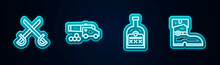 Set Line Crossed Pirate Swords, Cannon With Cannonballs, Alcohol Drink Rum Bottle And Leather Boots. Glowing Neon Icon. Vector