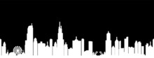 City Landscape. Buildings, White Silhouette Isolated On Black Background. Infinity Horizontal Cityscape. Contour Drawing. Outline Illustration, Black And White Style, Panoramic View