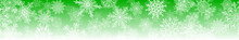 Christmas Horizontal  Banner Of Big And Small Complex Snowflakes With Seamless Horizontal Repetition, In Green Colors. Winter Background With Falling Snow