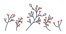 Collection Of Hand-drawn Christmas Decorations. Holly, Red Berries, Christmas Ball. A Beautiful Vector Set Of Twigs With Red Berries For Creating Postcard Designs, Invitations And More.