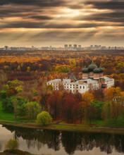 Aerial Skyline View To Autumn Golden Forest And Church At Izmailovo Park In City Moscow, Russia