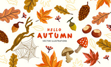 A Collection Of Autumn Natural Elements With Conkers And Leaves. Vector Illustration.