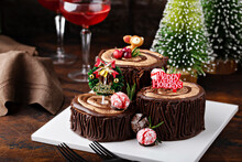 Yule Log Chocolate Cake With Frosting For Christmas