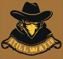 Western Bandit Wild West Cowboy Gangster Logo