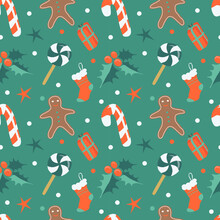 Christmas Seamless Vector Pattern In Retro Style With Gingerbread Men, Holly Leaves, Candy Canes, Gifts. Pattern In Flat Style For Printing On Fabric, Wrapping Paper