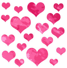White Background With Pink Hearts Of Different Sizes
