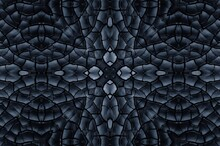 Black Texture Of Burnt Wood Symmetrical Background. Burnt Board Close-up. Consequences Of A Fire, The Kaleidoscope Effect