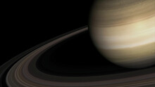 Concept 4-P1 View Of The Realistic Planet Saturn From Space. High Detailed 3D Rendering.