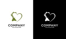 Green Deer Head Logo Incorporates Elements Of Love, Perfect For Your Business Or Brand Identity