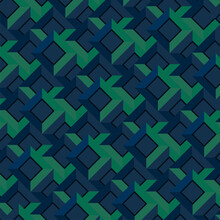 3D Rendering Geometric Square Sacred Pattern Background In Blue And Green Color.