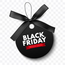 Black Friday Sale Label With Black Bow And Black Ribbon Isolated On White Background. Vector Illustration